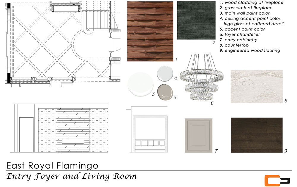 Entry foyer and living room finish board